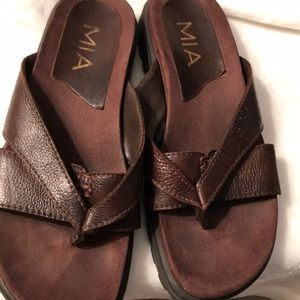 MIA Women's Brown Leather Sandal Size 71/2.